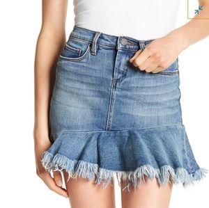 BLANKNYC Frayed Ruffle Hem Denim Skirt